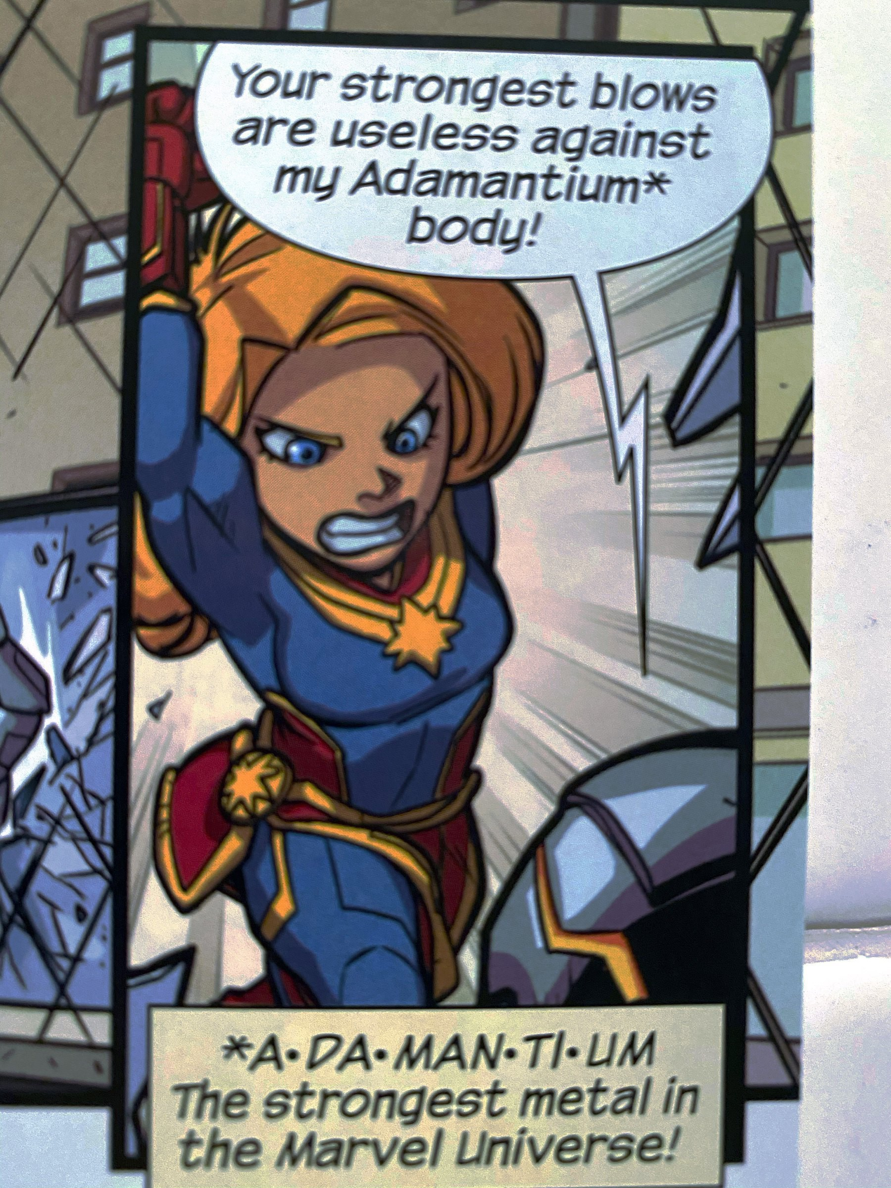 Ultron taunts Captain Marvel that her strongest blows are useless against adamantium!
